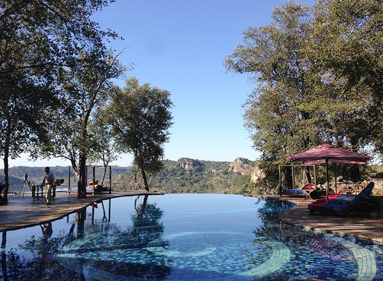The amazing outdoor heated pool at Singita Pamushana.