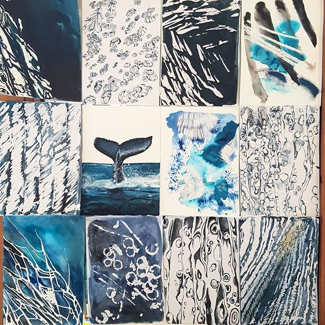 Other uses for your livingroom mirror:  #visualboard #collage #blues #hues #lucyhuesart #markmaking #studies #sydneyartist #whale #whalewatching #fluke #barnacles