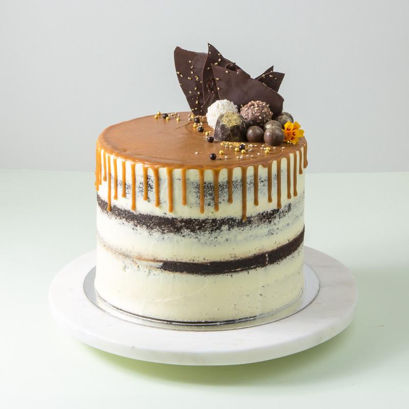 "8"" Dark Chocolate Caramel Semi Naked Cake"
