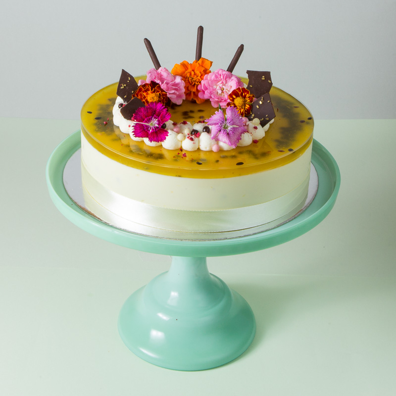 White Chocolate Passionfruit Mousse Cake