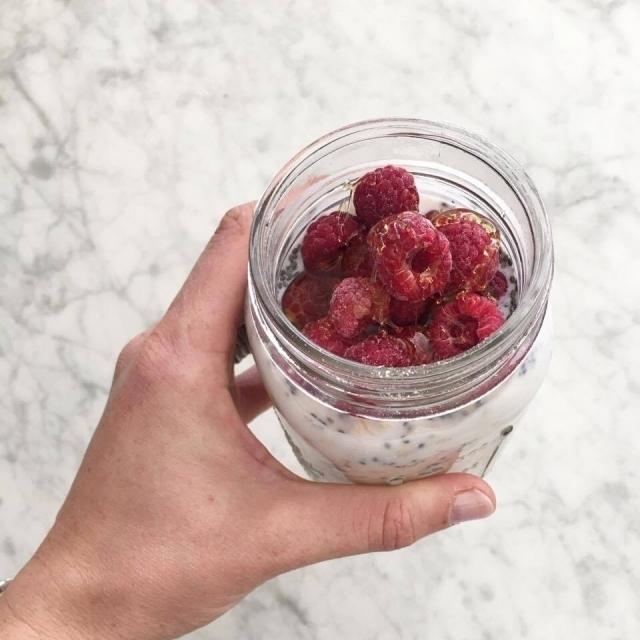 overnight chia raspberry oats recipe