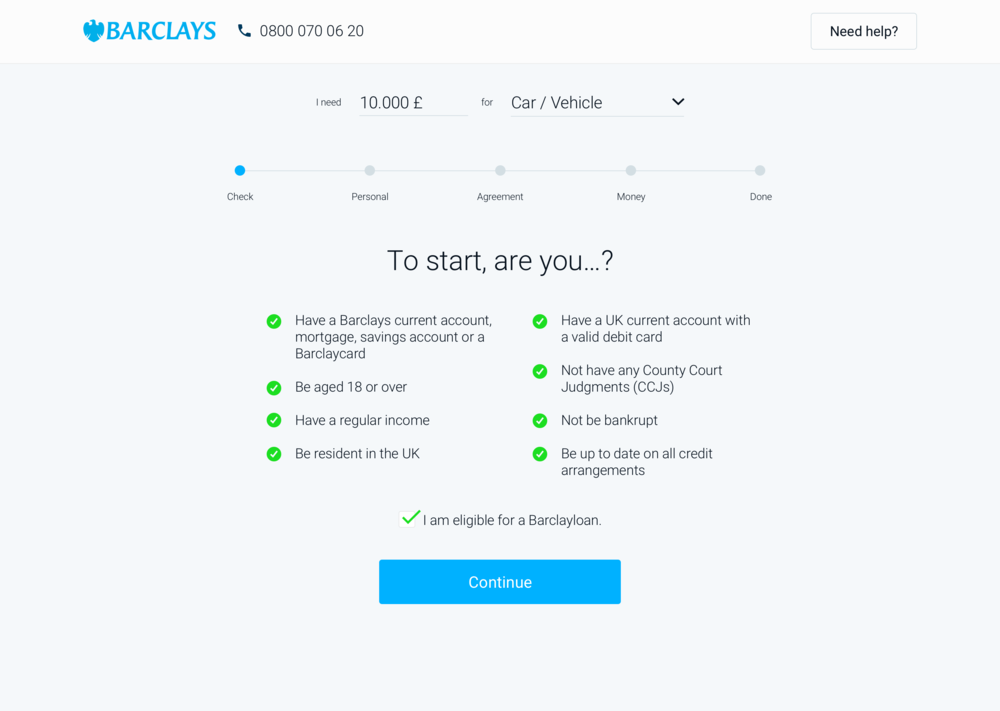 First, user'll see the first step of the application –a self-checklist that tells the user what she / he needs to apply. I split the process into different steps to make it easier to understand, with clear call to actions.