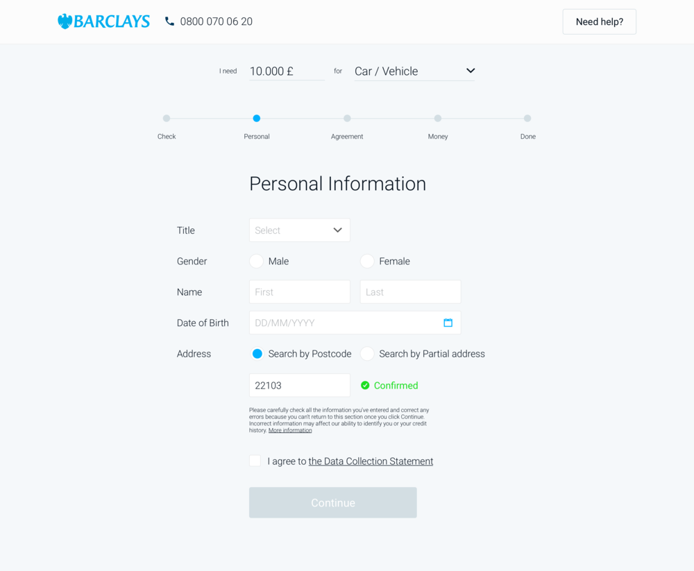 Second, the Personal information is gathered with a comprehensive form asking for the contact details and agreement checkbox.