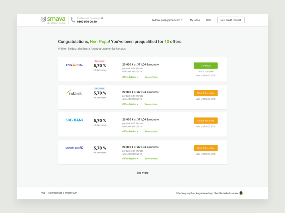 Redesigning smava checkout process - 2018 · UX & UI · Responsive Web · Interaction