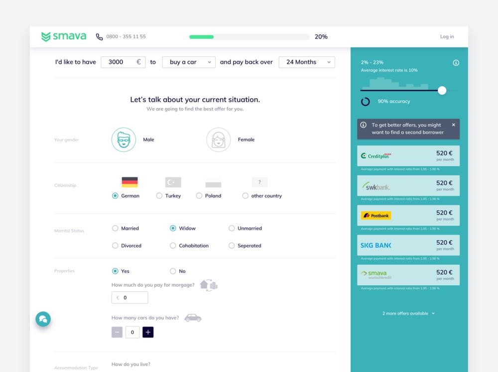 Smava Hackathon Project - 2017 · UX & UI · Web · Interaction