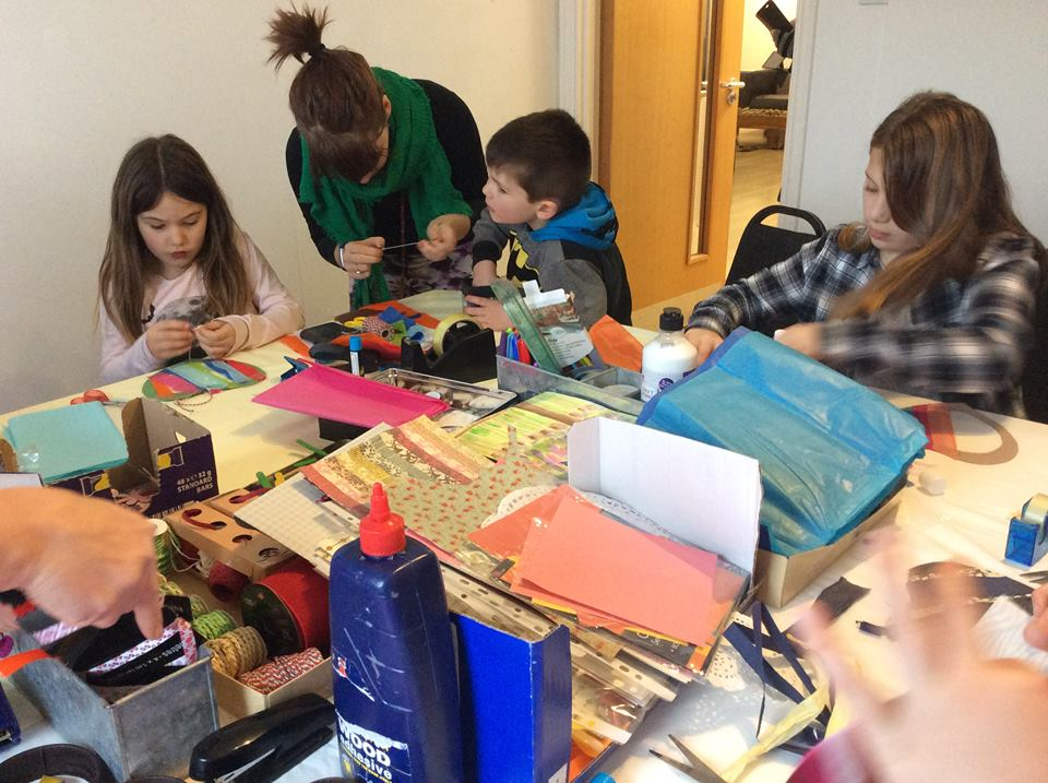 Some youngsters enjoy crafting with mum