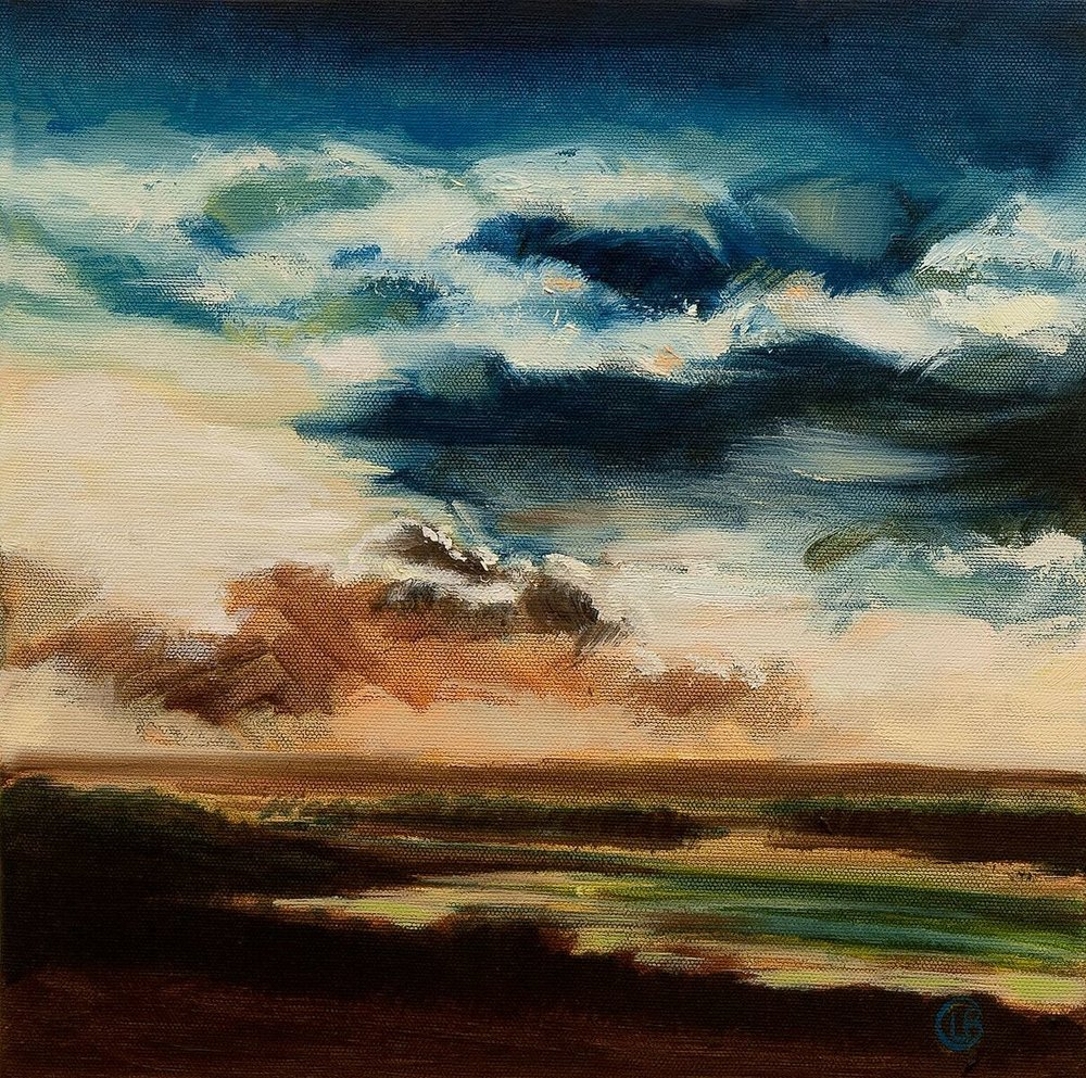 Louise Burdett 'Down on the Estuary banks (my favourite place to be) 8' oil on canvas