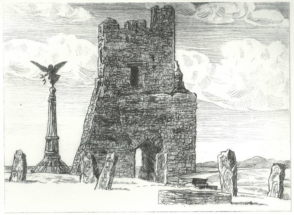 Brocklehurst. Stuart. 12cm x 15cm. Aberystwyth Castle. (Drypoint).jpg