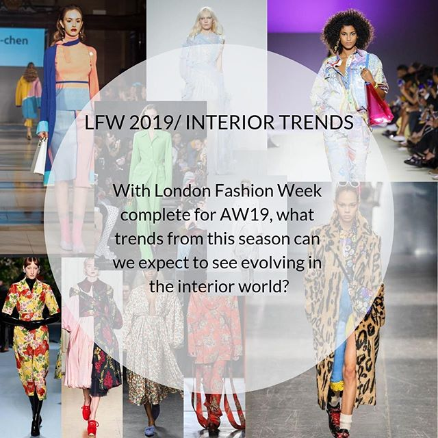 #londonfashionweek for AW19 is complete! Here are a few of our favourite trends that you can incorporate into interiors! Swipe to take a look 😍  #lfw #londonfashionweek2019 #lfwaw19 #aw19 #trends #fashion #interiordesign #monochrome #leopard #neon #florals #holographic #aqua #homedecor #interior_and_living #londonfashionweekend