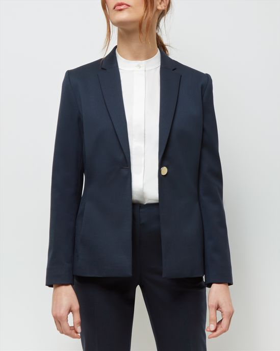 Top Notch - Long day ahead? Let the gold-tone button twinkle in the light as you tackle the work in this versatile blazer. Coffee helps too...