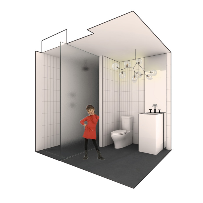 rendering of powder room