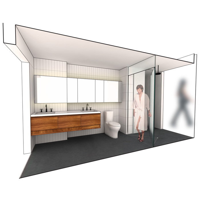 rendering of master bathroom
