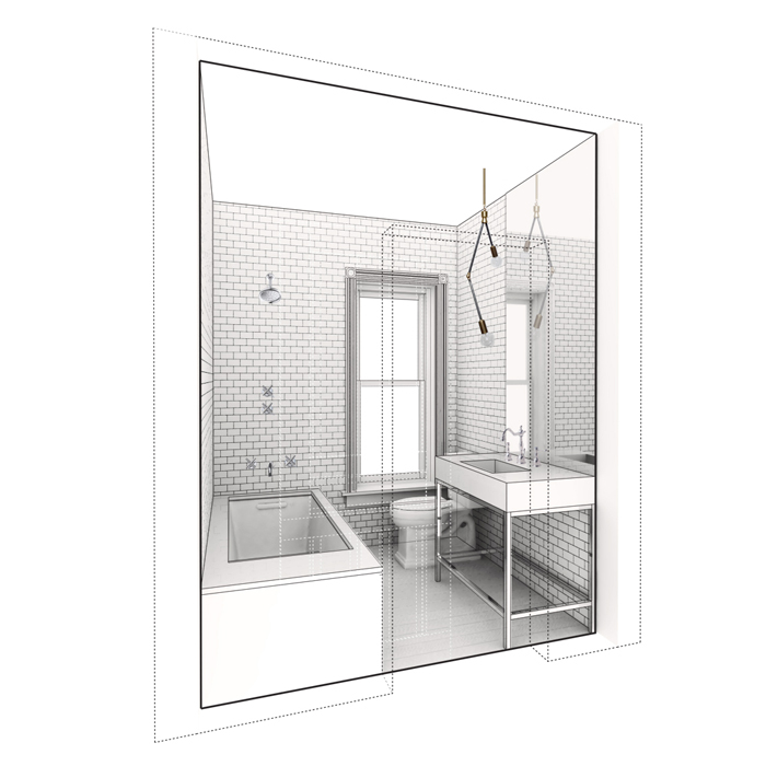 rendered view of guest bath