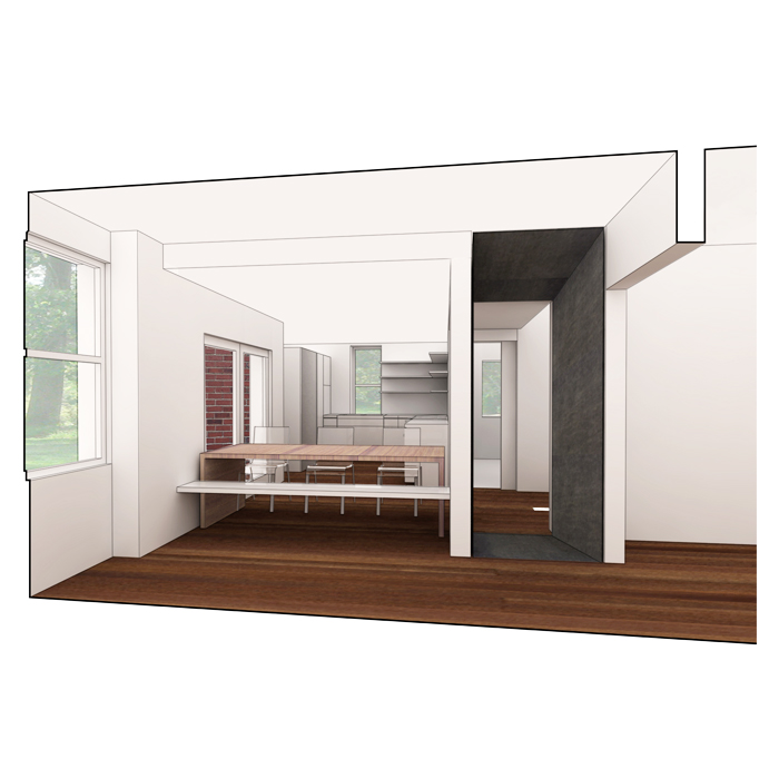 rendering of dining room with table/bench configuration