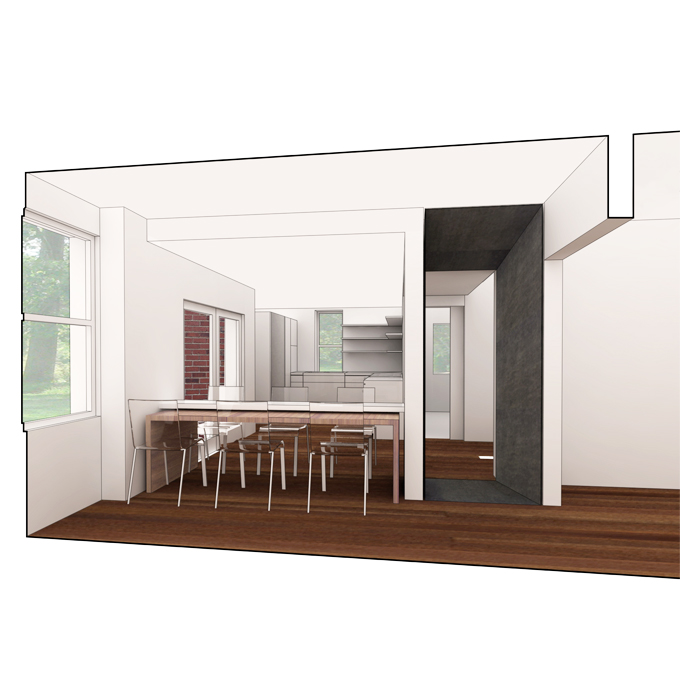 rendering of dining room in table/chair position