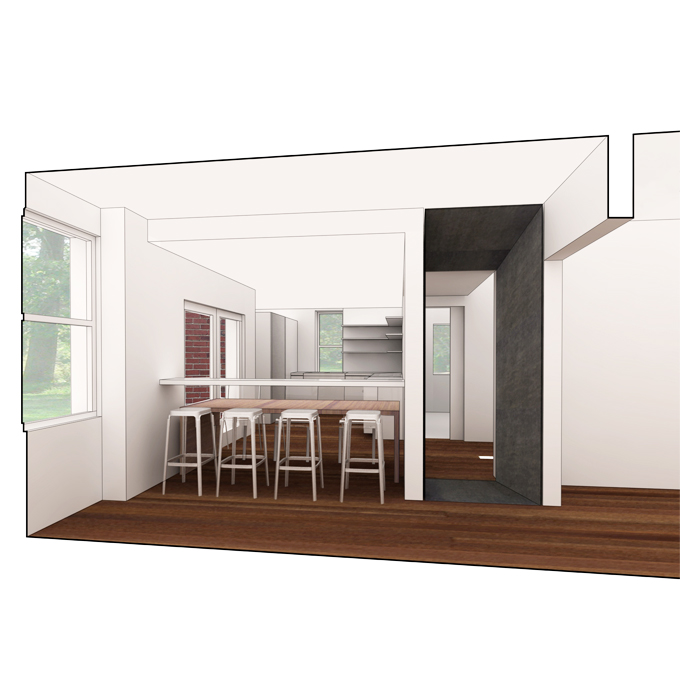 rendering of dining room in bar configuration