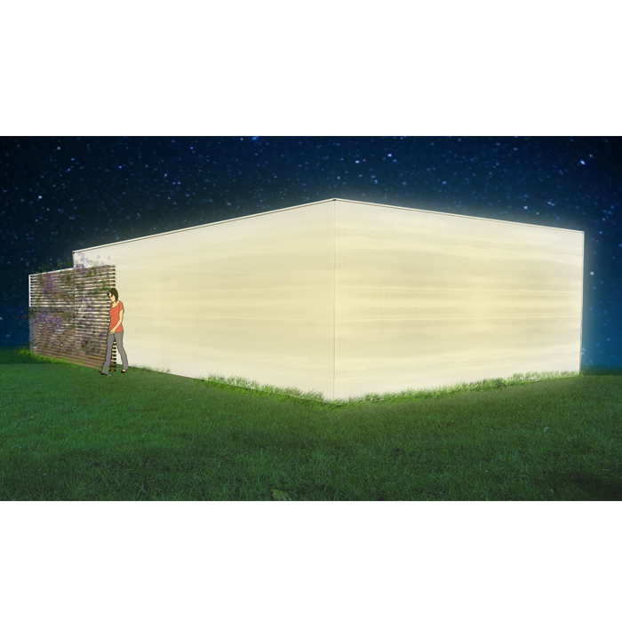 rendering of garage at night