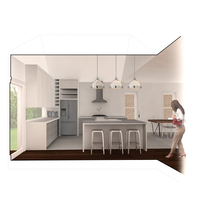 rendered view of kitchen