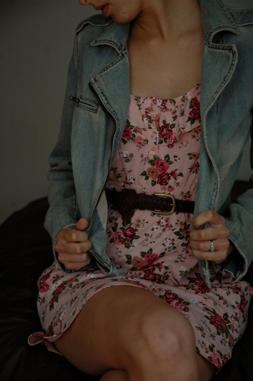 floral dress denim jacket