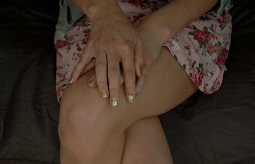 floral dress glitter nails