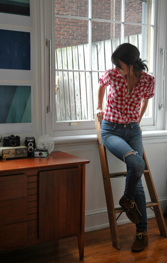 checkered shirt gap jeans