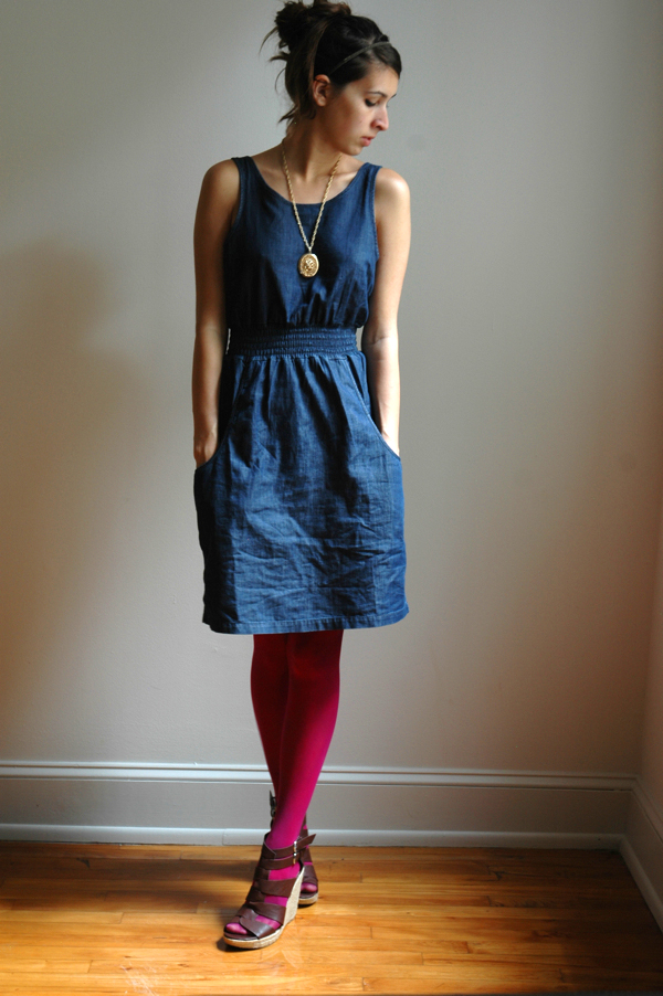 denim dress bright tights