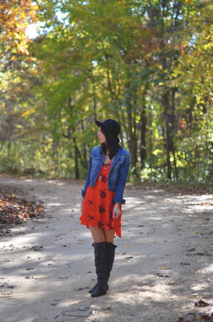 Fall Style Dress Boots Denim Jacket Hat