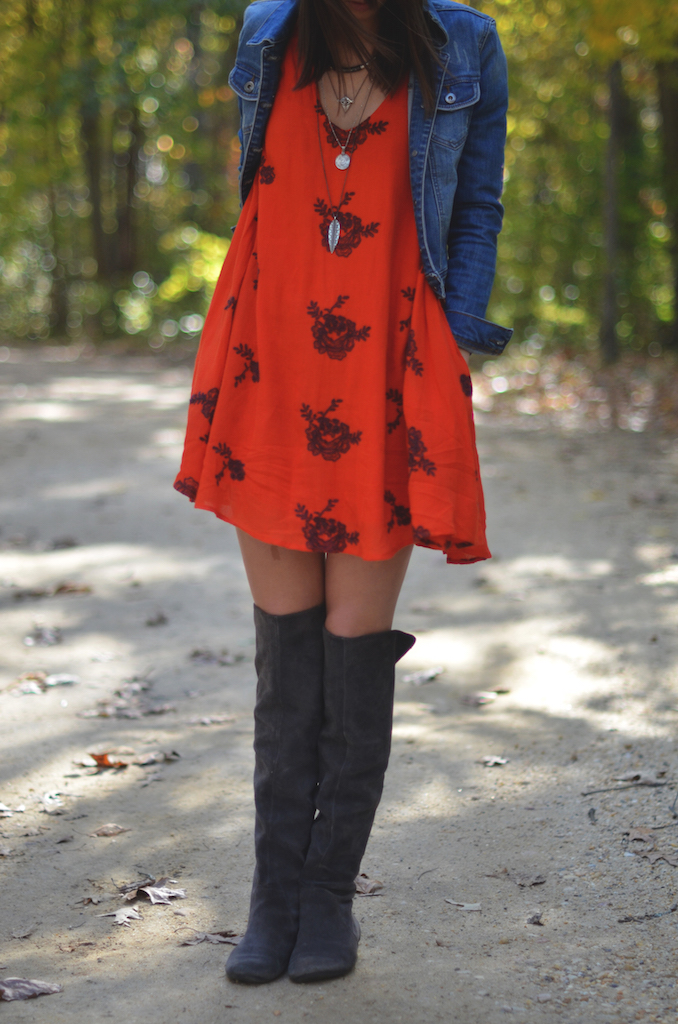 Fall Style Bright Dress Tall Boots