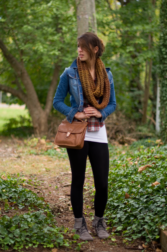 Fall Style Denim Jacket Plaid