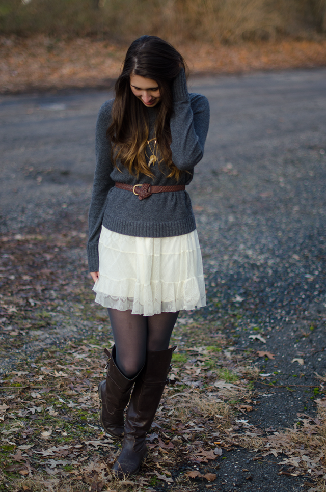 Sweater and Dress Layering Fall Style