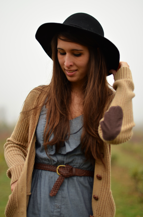 Fall Denim Dress Hat Styling