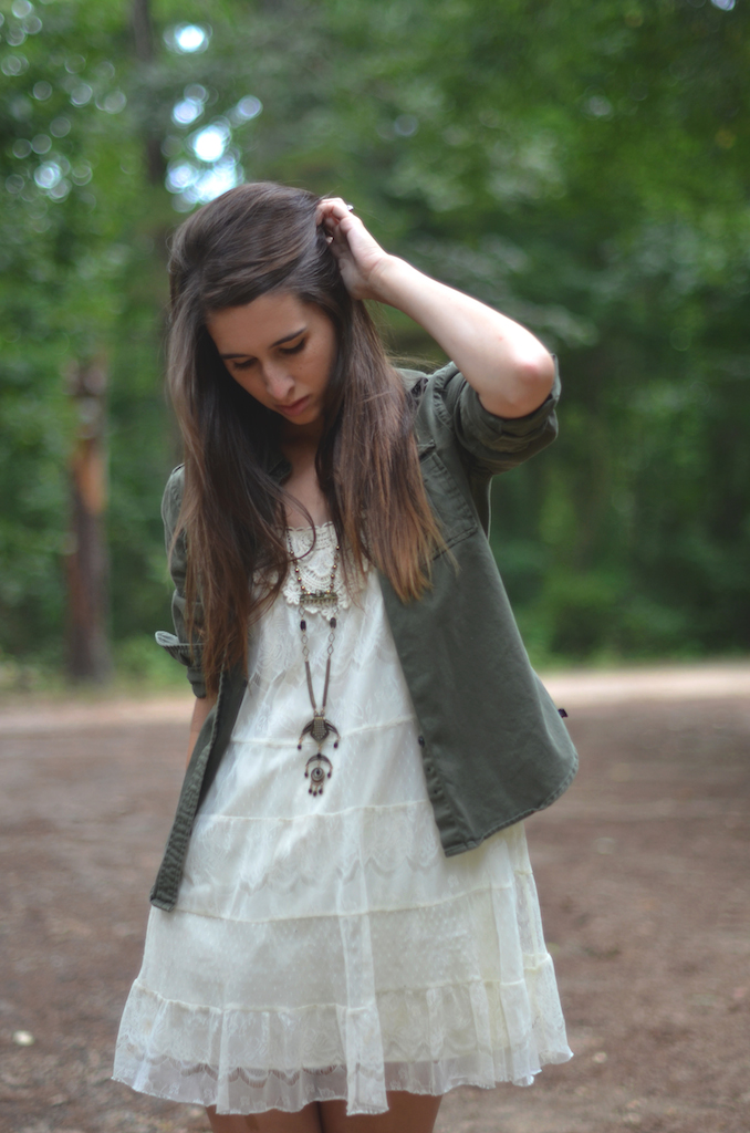 Lace Dress Army Jacket Styling