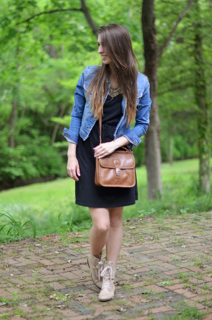 Black Dress Denim Jacket Styling