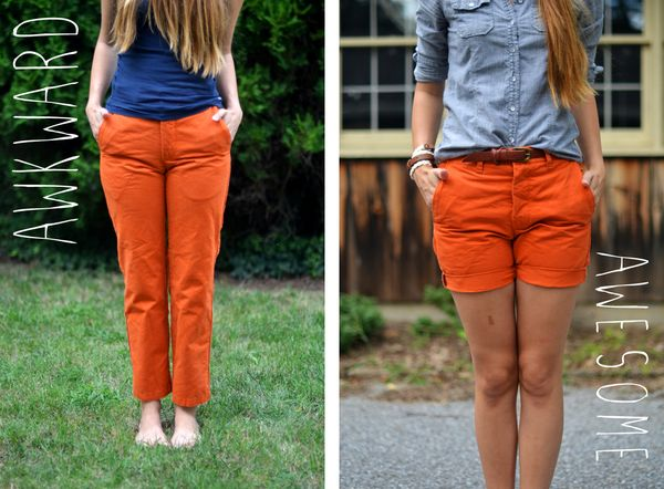 Fine and Feathered pants to shorts