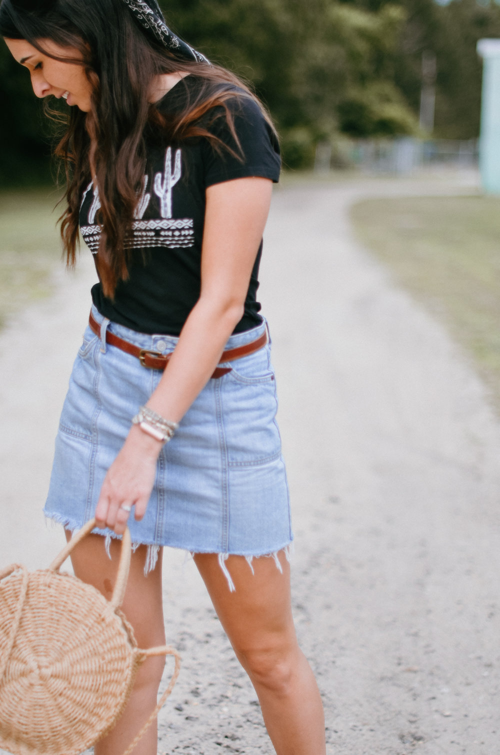 Fine and Feathered Summer Denim Skirt Styling
