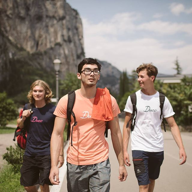 Squad walking to brunch like... . . . . . . . #adventure #apparel #Duco #Ducolife #mountains #climb #climb #higher #climbing #boulder #bouldering #usa #team #sports #athlete #athletic #italy #arco #championships