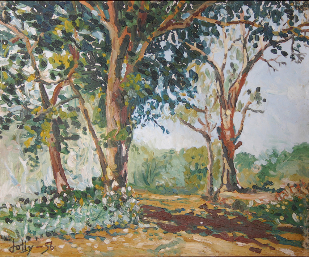 Landscape in Malacca, 1956, Oil on Board, 37cm x 45cm