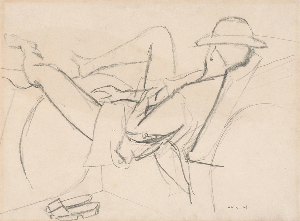 Man Reclining in a Trishaw, 1958, Pencil on Paper, 39cm x 51cm, Collection of National Gallery, Singapore