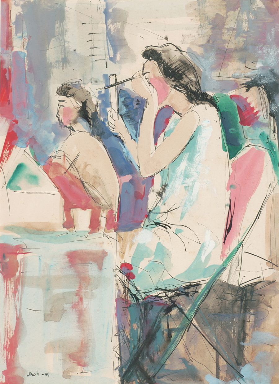 Backstage, 1959, Ink & Gouache on Paper, 37cm x 26cm, Collection of National Gallery, Singapore