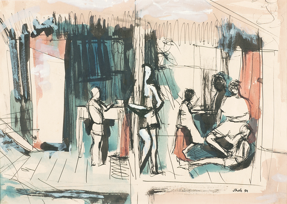 Beneath the Attap, 1959, Ink & Gouache on Paper, 27cm x 37cm, Collection of National Gallery, Singapore