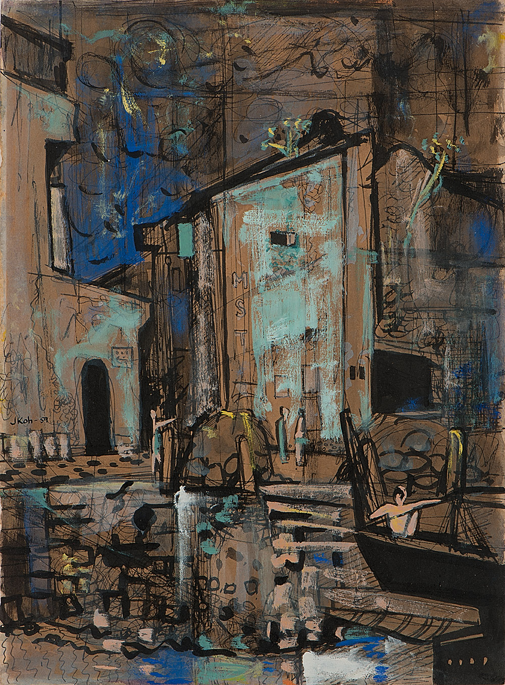 No.1 Heeren Street with Chinese Junk, 1959, Mixed Media on Paper, 37cm x 27cm