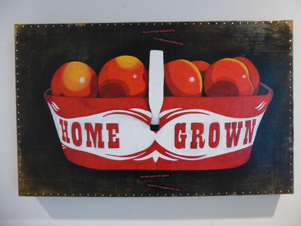 """I drove through Kapuskasing  in a diamond-studded bra,  the devil gave me apples,  but that's not against the law.  mobius #208  verse:8  Acrylic on canvas, collage. 36 x 22 1/2"""". Acrylic paint, text, rhinestones."""
