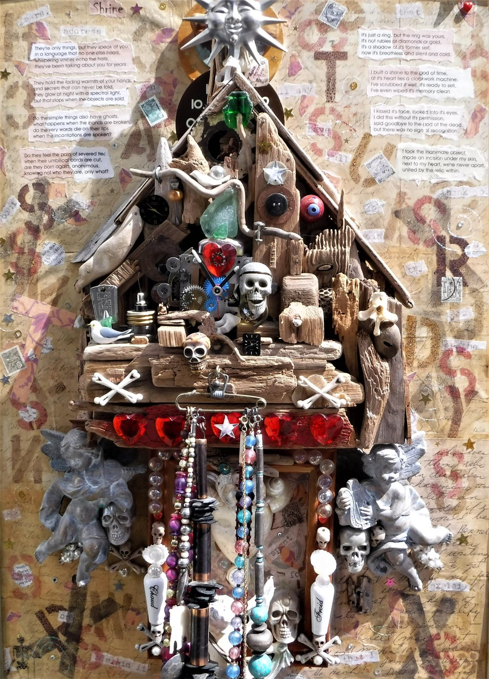 """shrine"" - close-up image, original letter, collage, beads, found objects, driftwood, text."