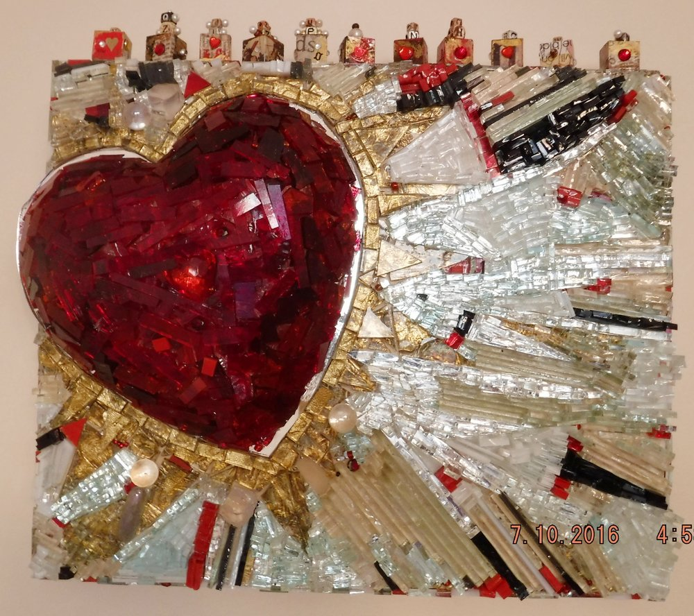 Glass mosaic - mirror, glass, gold leaf, beads, wooden blocks, collage, on wooden shadow box.