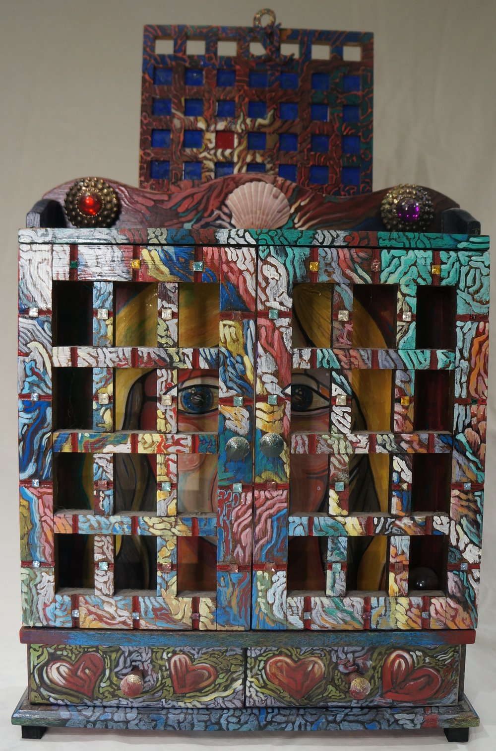Mixed-media collage, Robert McLaughlin Gallery, Oshawa, Ont.  Altered painted spice rack.