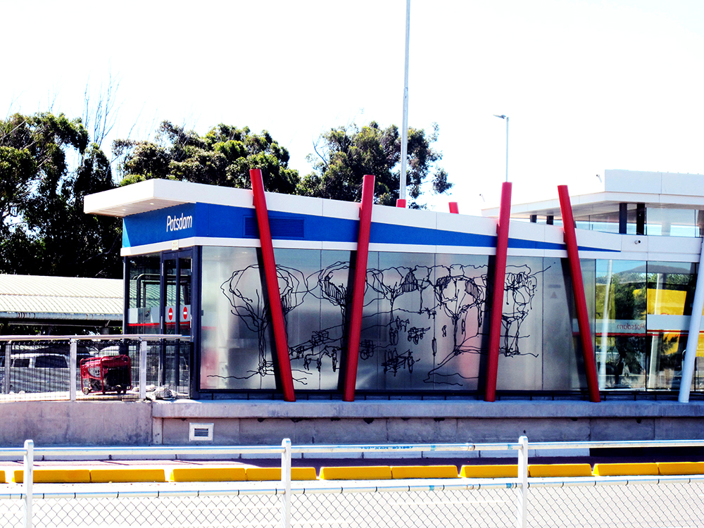 Avenue, BRT MyCiti Station at Potsdam, Vinyl print, 2.1 m x 7, Cape Town,Curated by Educentric cc, 2014.