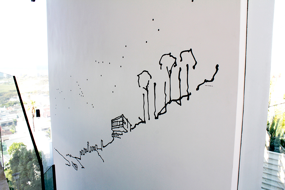 Home , House Sachs, Acrylic paint mural, 4.2 m x varying height, Curated by  Three14 Architects , Cape Town, 2012.