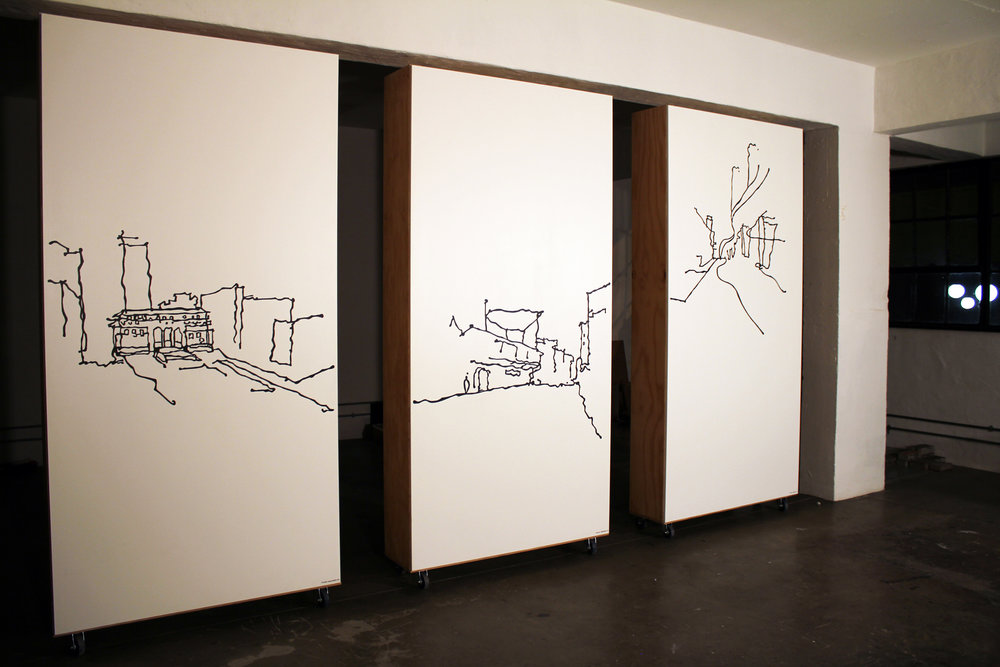 Urban Moments, Acrylic paint on timber panel, 1.2 m x 2.4m, Maboneng Precinct, Curated by UrbanWorks Architects and Urban Designers, Johannesburg, 2012.