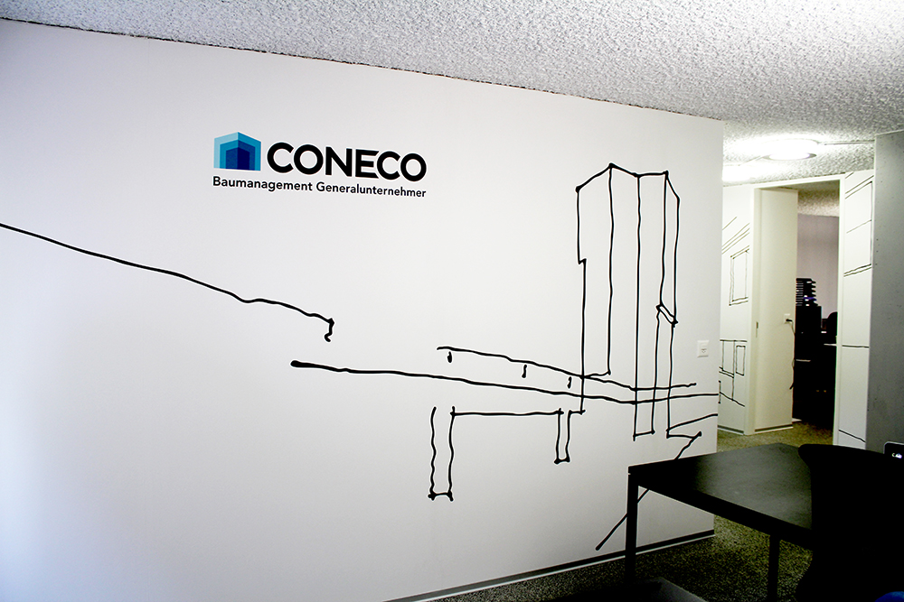 Coneco , Printed illustration on wallpaper, Varying sizes,Curated by  Coneco , Zürich, Switzerland, 2011.
