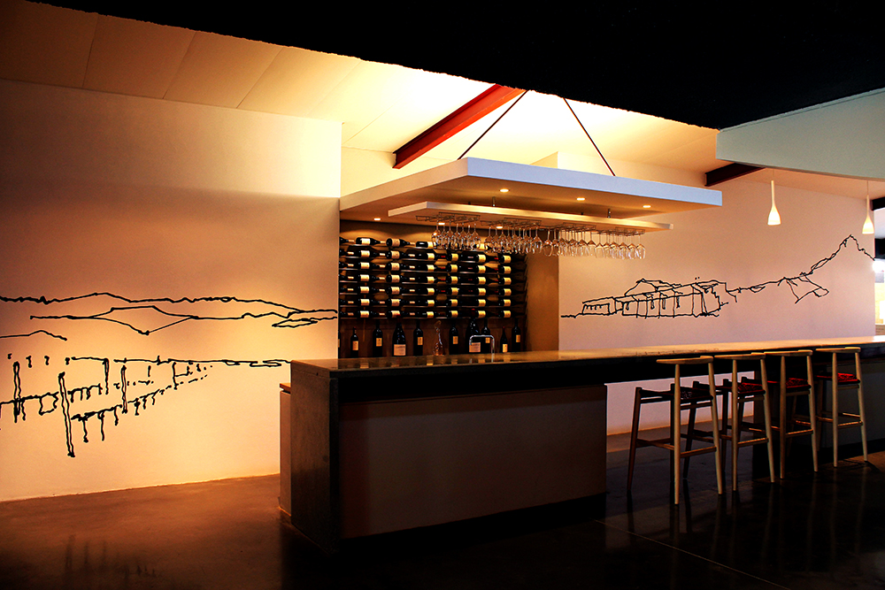 Distil, Acrylic paint mural, Neil Ellis Winery, 3 m x 12 m, Curated by Three14 Architects, Stellenbosch, 2010.